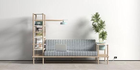 Sofá con plantas